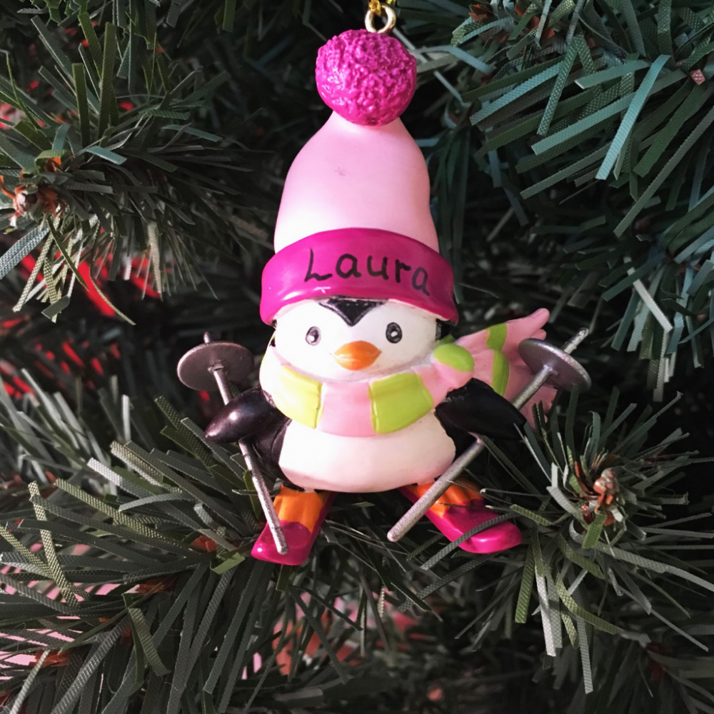 Pink Penguin with Ski's - Personalised